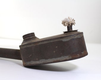 Antique Oval Tin Whale Oil Lamp with wooden handle