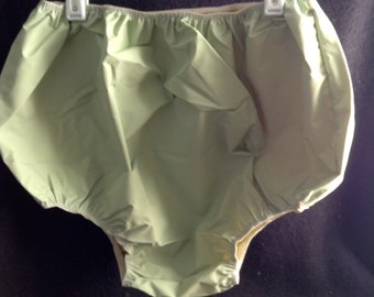 Vintage Rubber/Plastic Bloomers, Panties.  Size Medium.  Lingerie, fetish.  Pin up.  Boilable.  Pale Green.  Made in Taiwan.