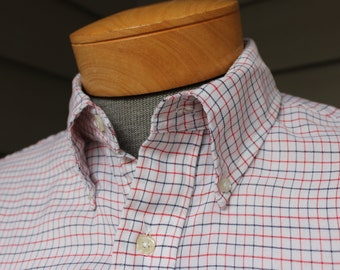 vintage 1970's -SERO- Men's Oxford Cloth Button down collar - long sleeve shirt. 'Durable Press'  65/35 blend - Tatersall. Large 16 1/2 x 33