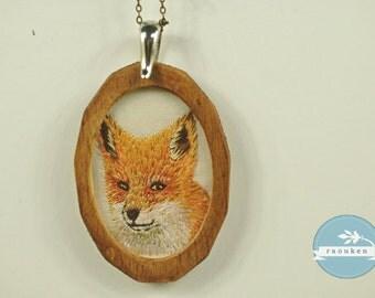 Handembroidered Needlepainted Fox Necklace Pendant