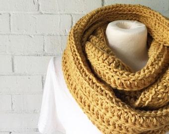 ROWAN chunky crochet infinity scarf - sungold - ready to ship