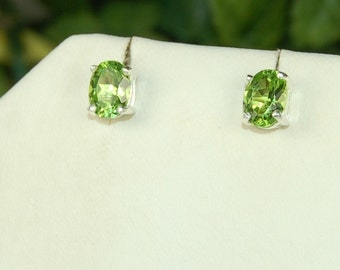 Peridot Earrings, Bright Green, Faceted Ovals, 3 Ctw, Sterling Silver, August Birthstone, Peridot Studs, Natural Peridot, Green Peridot
