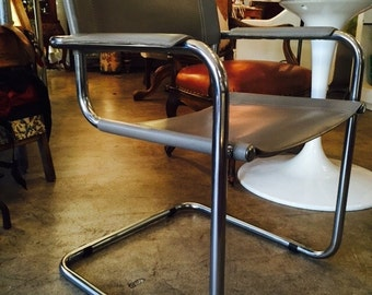 Italian Smoky Grey Leather Iconic Arbor Sling Chrome Accent Office Studio Chair
