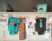 Personalized Onesie Set, Woodland Baby, Hipster Fox Baby