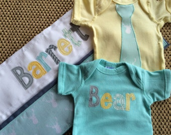 Boys Personalized Onesie and Burp Cloth Set, Perfect for Baby Shower Gift or Decoration - Woodland Animals, Deer