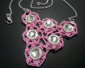 Pink Crochet Necklace Silver Tone Chain