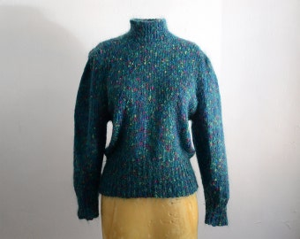 Vintage 80s Teal Mohair Blend Turtleneck