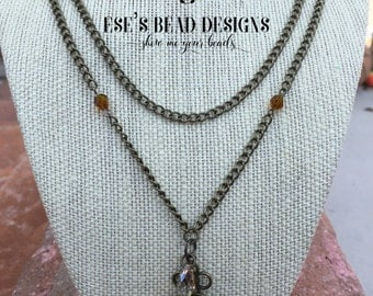 """22"""" Long Antique Brass Chain Necklace with Swarovski Crystals"""