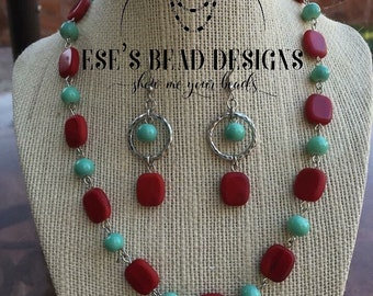 Cyan and Red Necklace Set