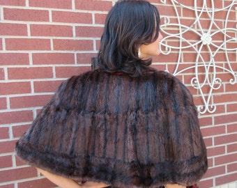 Vintage Mink Stole Dark Fur Caplet Wrap Free Shipping