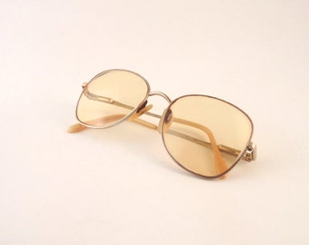 Vintage 1970s Mens Eye Glasses Yellow Prescription Lenses Wire Rims Charmant Japan