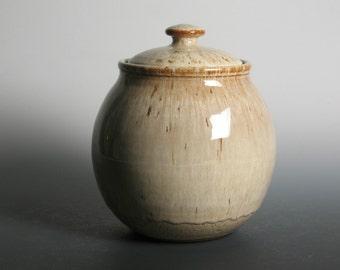 Dog treat jar, cookie jar, stoneware pottery