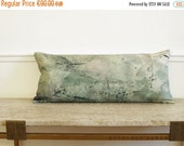 ON SALE Lumbar cushion pillow. woodland printed linen. Natural interior. Zen Long pillowcase. Green.. Tree perched /  FRAGMENTS