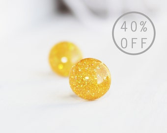 ON SALE - Sunny Yellow Iridescent Glitter Posts - Hypoallergenic Surgical Stainless Steel Posts