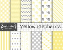 50% OFF SALE Yellow Elephant Digital Paper, Gender Neutral Baby Shower Scrapbook Paper, Unisex Baby Elephant Backgrounds, Yellow and Gray Di