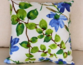 Floral with Leaves Pillow Cover, Blue, Green, Brown on Cream Background Screen Print, Linen Like Slub Braemore Fabric,  18 x 18 inch, zipper