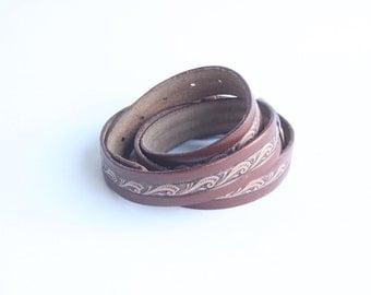 Vintage Men's Brown and Tan Leather Belt