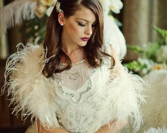 Shrug.  Ostrich ivory feather shrug with ivory satin ties.  Bride, wedding, bridal.