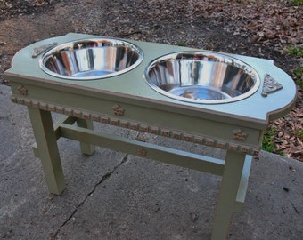 Elevated Dog Feeder 2 Three Quart Bowls, Cottage Chic, Raised, Dusty Olive with Copper Underlay, Large Dogs, Stainless Bowls Made to Order