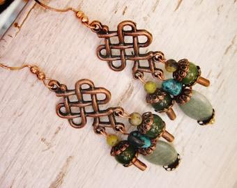 Bohemian chandelier earrings, Long Gypsy Bohemian Copper chandelier earrings with olive jasper, pale green jasper, turquoise and jade
