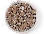100 - 10mm Mocha Brown AB Pearl Flatback Resin Decoden Cabochons, Half Pearl Cabochons, Flatback Pearls, Flat Back Pearls 10MM (R3-143)