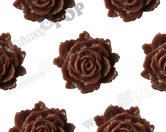Chocolate Brown Bloomin' Rose Small Resin Cabochons, Rose Cabochons, Flower Cabochons, Flower Cabs, Flatback Roses, 12mm x 11mm (R2-024)