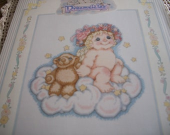 Teddy and Me Dreamsicles Cross Stitch Kit: Comes with Floss, Fabric, Needle, Directions