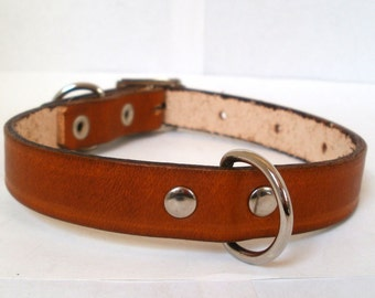 """Leather dog collars, XS, 1/2"""" wide, plain dog collar with rear D ring, full grain leather"""
