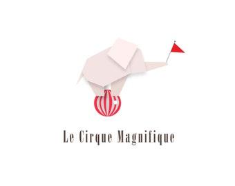 Minimalist Origami Circus Elephant Logo design, customizable Pre-made OOAK grey, pink/Red
