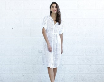 Final Summer Sale Embroidered Button down dress, White.