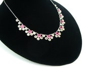 Crystal Necklace. Open Backs. Vintage 1950s Jewelry. Choker. White Gold Filled Rope Chain, Pink & Crystal Flowers. Wedding, Bridal