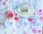 Wedding Handmade Album, Shabby Chic Album, Roses Album, Cottage Chic Album, Roses Wedding Album, Baby Girl Album, True Love Handmade Album