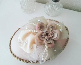 Antique Wedding Box, Shabby CHIC Fabric Box, Victorian Keepsake Box, Jewelry Box, Blush Pink Box