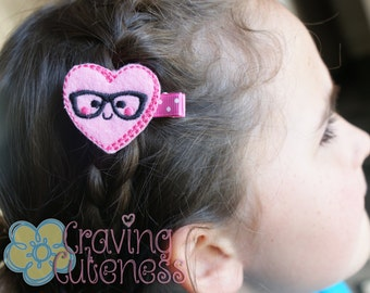 Nerdy Heart Hair Clip - Meet Miss Nerdette - Adorable