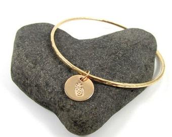Pineapple Charm Bangle, Gold Hammered Hawaiian Bracelet, Hawaii Beach Jewelry, Christmas Gift Idea, Handmade Maui, Island Style, Handstamped