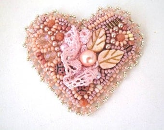 Peach heart, Bead embroidered brooch, Heart brooch pin, Beaded jewelry, Chabby chic