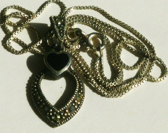 Sterling Silver Onyx Heart Necklace