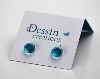 BLUE STUD Earrings made from a Topaz color Recycled Water Bottle, Mens Earrings, Gift For Him or For Her, Dessin Creations