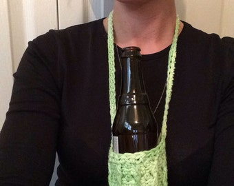 Multi Green Ribbed beverage insulator  / Beer beverage insulator  / Water Bottle beverage insulator /  beverage insulator Necklace