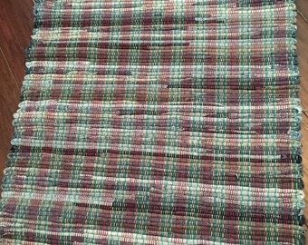 Handwoven Rag Rug, Woven Rug, Repurposed, Recycled Fabrics. Sturdy denim in blues.