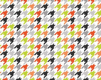1YD HOUNDSTOOTH ORANGE WHITE Lime  Halloween Riley Blake Fabric Quilting Sewing c970-15-halloween-17111