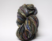 Yarn Thick and Thin Handspun Slub tts Hand dyed Self Striping BFL Silk Magnetar B03