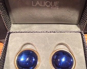 c1990s LaLique Paris Blue Crystal Cabouchon orbs clip on earrings, 25mm wide
