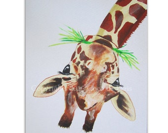 Original Acrylic Giraffe Painting on canvas, handpainted, Surrealistic Painting Animal Art by painter Coco de Paris: Giraffe upside down