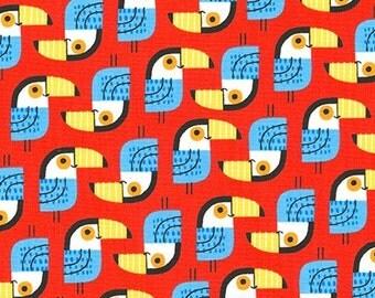 Little Senoritas Toucan in Red, Suzy Ultman, Robert Kaufman Fabrics, 100% Cotton Fabric, ASD-16537-3 RED