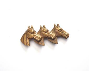 Vintage Brass Horse Brooch