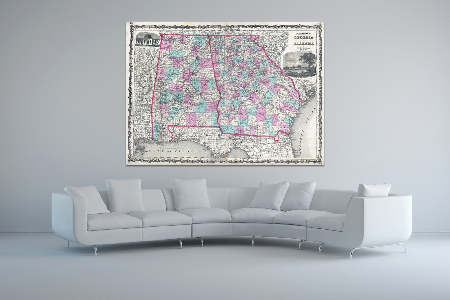 Print of antique map of georgia and alabama by johnson and for 12x15 calculator