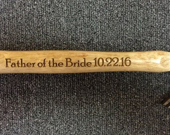 Father's Day Gift Engraved Father of the Bride  Hammer, Laser Engraved Hammer, Personalized Father's Day Gift