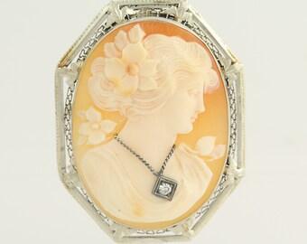 Art Deco Carved Shell Cameo Brooch / Pendant - 14k White Gold En Habile .04ct N523