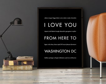 Washington DC Poster, Washington DC Typography Print, Paper Anniversary Gift, Moving Gift, I Love You From Here to Washington Dc